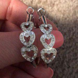 Silver heart ♥️ hoop earrings